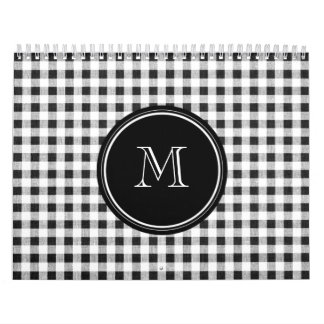 Black and White Gingham, Your Monogram Calendar