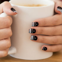 Black and White Gingham, Your Monogram Minx Nail Art