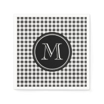 Black and White Gingham, Your Monogram Paper Napkin