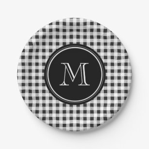 Black and White Gingham Your Monogram Paper Plate  sc 1 st  Zazzle & Black And White Gingham Plates | Zazzle