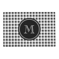 Black and White Gingham, Your Monogram Placemat