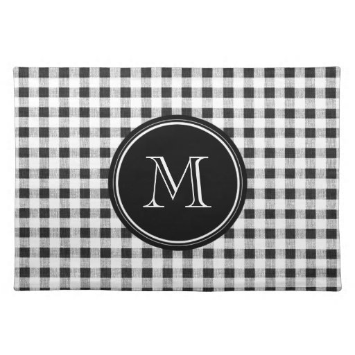 black and white gingham your monogram placemat zazzle. Black Bedroom Furniture Sets. Home Design Ideas