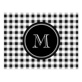 Black and White Gingham, Your Monogram Postcard