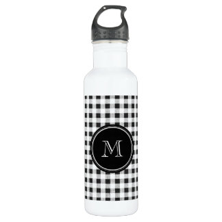 Black and White Gingham, Your Monogram Water Bottle
