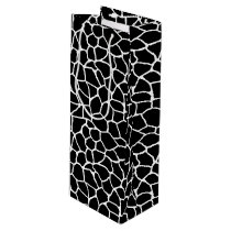 Black and White Giraffe Print Animal Pattern Wine Gift Bag