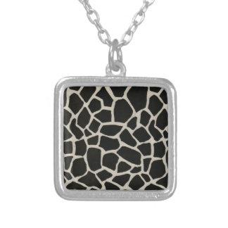Black and White Giraffe Square Pendant Necklace