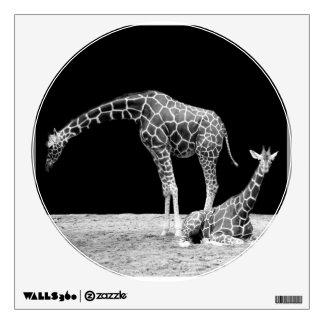 Black and White Giraffes Two Giraffes Wall Decal
