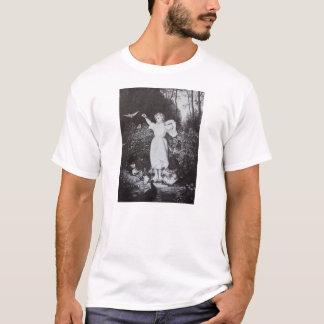 Black and White Girl Feeding Birds T-Shirt