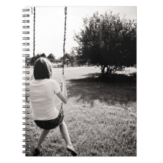 Black and White girl on swing NOTEBOOK