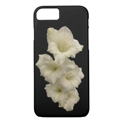 Black and White Gladiola Flowers iPhone 7 Case
