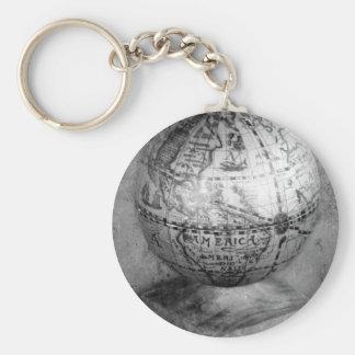 Black and white globe keychain