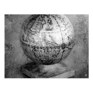 Black and white globe postcard