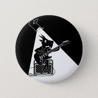 Black and white goat playing guitar pinback button