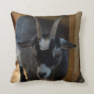 black and white goat under wood structure animal throw pillow