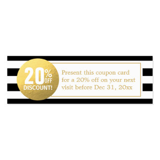 Black and White Gold Beauty Salon Discount Coupon Double-Sided Mini Business Cards (Pack Of 20)