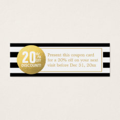 Black and White Gold Beauty Salon Discount Coupon Mini Business Card at Zazzle