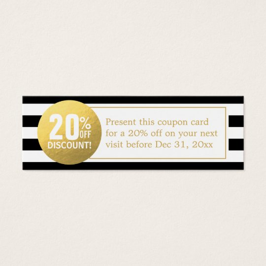 black and white gold beauty salon discount coupon mini business card. Black Bedroom Furniture Sets. Home Design Ideas