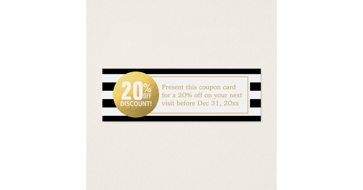 Black and White Gold Beauty Salon Discount Coupon Mini Business Card ...