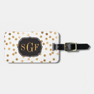 Black and White Gold Glitter City Dots Monogram Bag Tag
