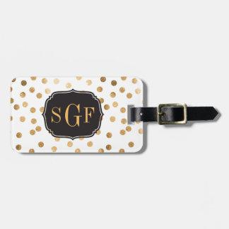 Black and White Gold Glitter City Dots Monogram Bag Tag