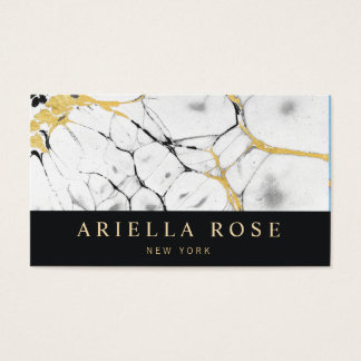 Black and White Gold Marble Abstract Business Card