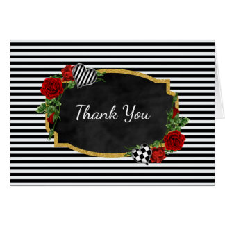 Black and White Gold Thank You Card