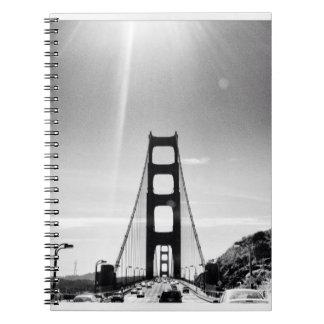 Black and White Golden Gate Bridge Spiral Note Books