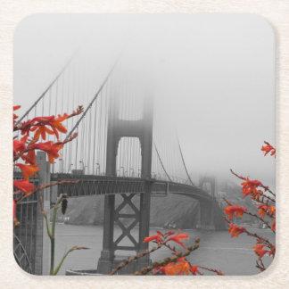 Black and White Golden Gate Bridge Square Paper Coaster