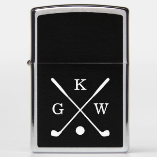 Black and White Golf Clubs Monogram Zippo Lighter