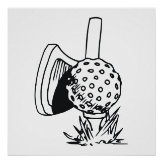black and white golf design poster