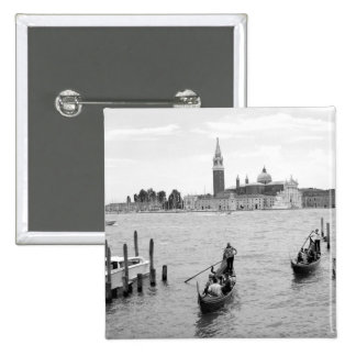 Black and White Gondola in the city of Venice Pinback Button