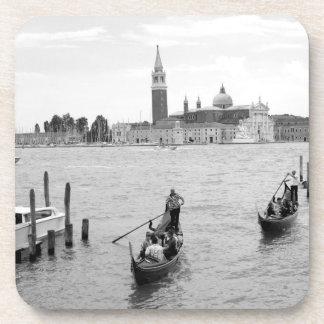 Black and white Gondolier in Venice Coaster