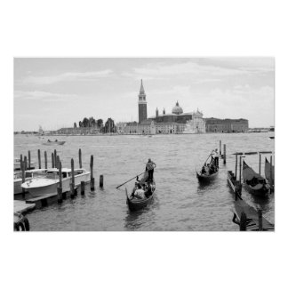 Black and white Gondolier in Venice Poster