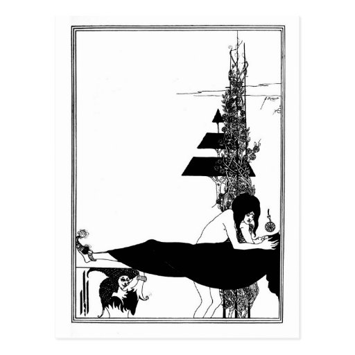 Black and white goth gothic art nouveau Salome Post Card