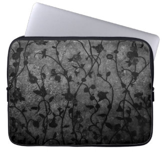 Black and White Gothic Antique Floral Computer Sleeve