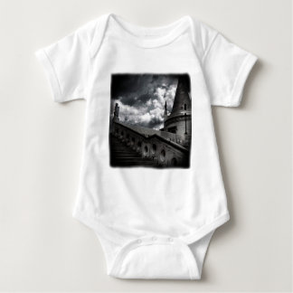 Black and White Gothic Castle Halloween Baby Bodysuit