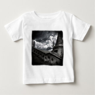 Black and White Gothic Castle Halloween Baby T-Shirt