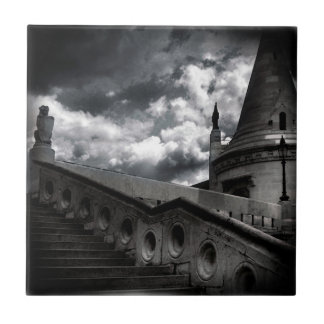 Black and White Gothic Castle Halloween Ceramic Tile