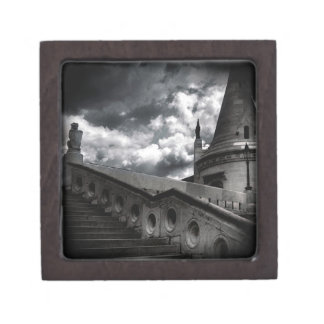 Black and White Gothic Castle Halloween Jewelry Box