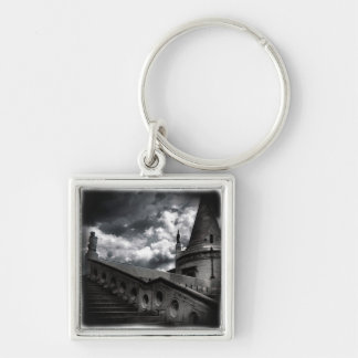 Black and White Gothic Castle Halloween Keychain