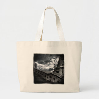 Black and White Gothic Castle Halloween Large Tote Bag