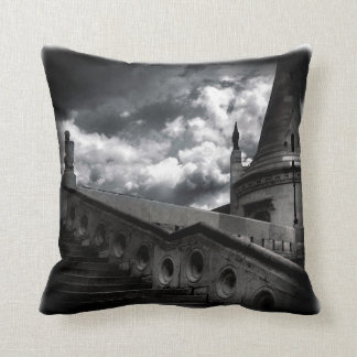 Black and White Gothic Castle Halloween SQ Throw Pillow