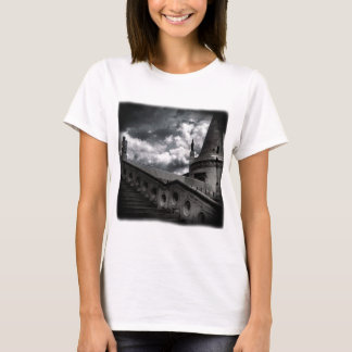 Black and White Gothic Castle Halloween T-Shirt