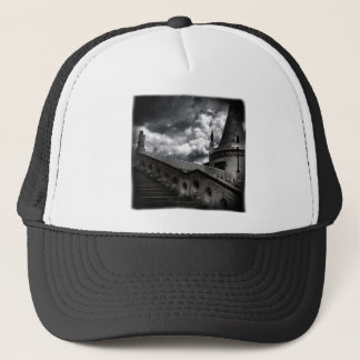 Black and White Gothic Castle Halloween Trucker Hat