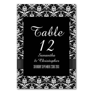 Black and white gothic damask table card
