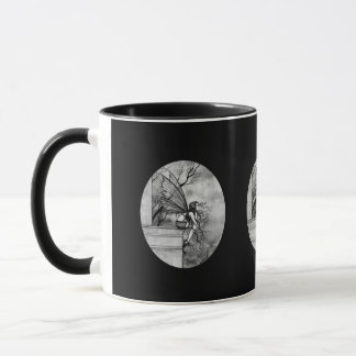 Black and White Gothic Fairy Mug, Cup