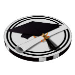 Black and White Graduation Cap with Diploma Black Poker Chip Set
