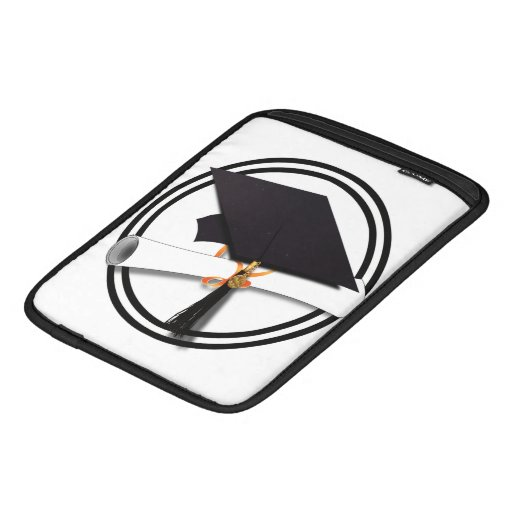 Black and White Graduation Cap with Diploma iPad Sleeve