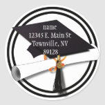 Black and White Graduation Cap with Diploma Round Stickers
