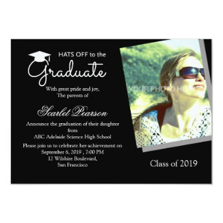 Black and White Graduation Celebration Invitation